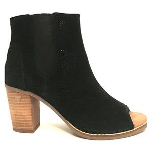 NEW Toms Black Perforated Leather Peep-Toe Bootie